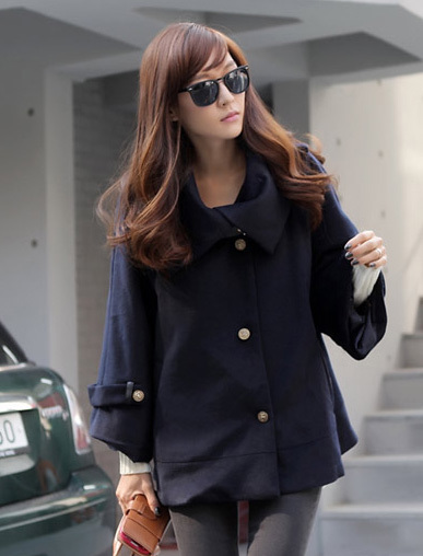 Buy maternity outerwear - Loose style A-line dress shape maternity coat - navy blue