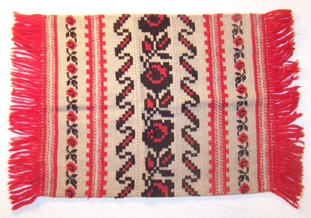 Ukrainian European Handmade Folk Art Embroidered Pillow case Red Yarn Tan Tweed