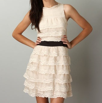 Cascading Multi-tiered Ivory Embroidered Lace Dress Size Medium