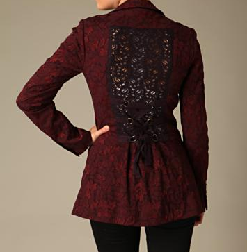 SO RARE Free People Jacquard Wine Red Burgundy Lace Boyfriend Blazer 2