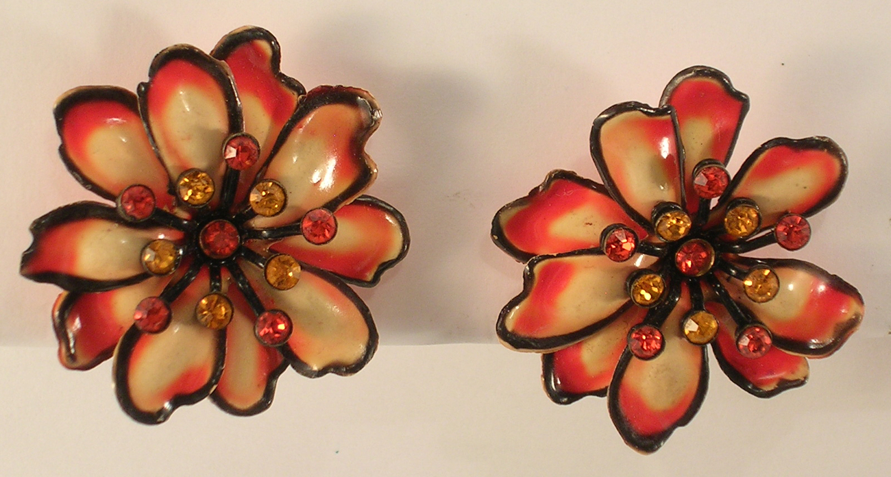 Orange & Tan with Faux Rhinestone Center Accents Clip On Earrings