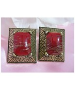 Vintage Gold Tone Earrings Red & Gold Glitter S... - $9.99