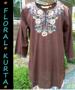 KURTA floral embroidery TUNIC top BLOUSE brown ... - $20.06