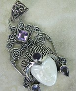 Hand Carved Goddess Miniature + faceted Amethys... - $95.23