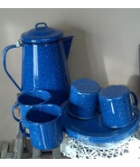 Blue Enamelware Camping Set Pitcher Cups Plates... - $49.57