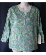 L Oleg Cassini Seafoam Paisley Henley Shirt Top  - $19.99
