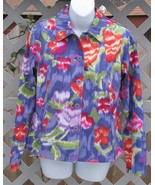 Small Coldwater Creek Purple Floral Cotton Jacket - $21.99