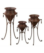 Metal Planters With Stands Set of 3 Terrace Rus... - $189.98
