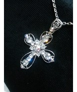 Rhinestones Cross Pendant Necklace Detailed Ope... - $15.99