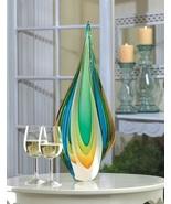 Glass Teardrop Centerpiece Blue and Yellow Swirls - $60.00