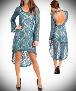 Teal Hi-Low Bell Sleeve Dress-Medium - $26.99