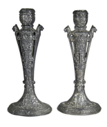 Egyptian Revival Silvered Candlesticks, Pair - $250.00