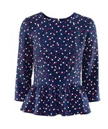 NWOT H&M 3/4 Sleeve Peplum Blouse Top Navy Red ... - $28.70