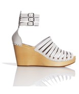 New Swedish Hasbeens H&M White Leather Gladiato... - $78.21