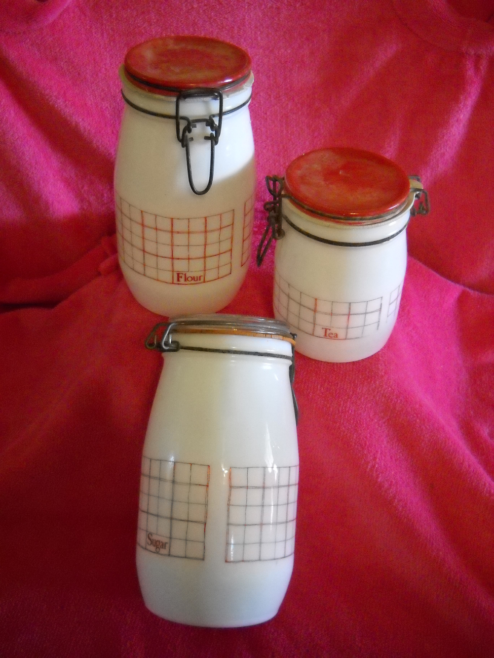 3 pc. Wheaton Canister Set - Red & White Milk Glass