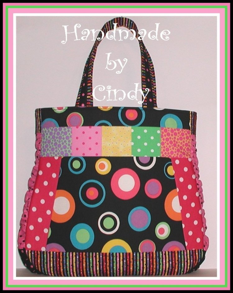 Polka Dot XXL Tote Diaper Bag Knitting Pink Lime Black