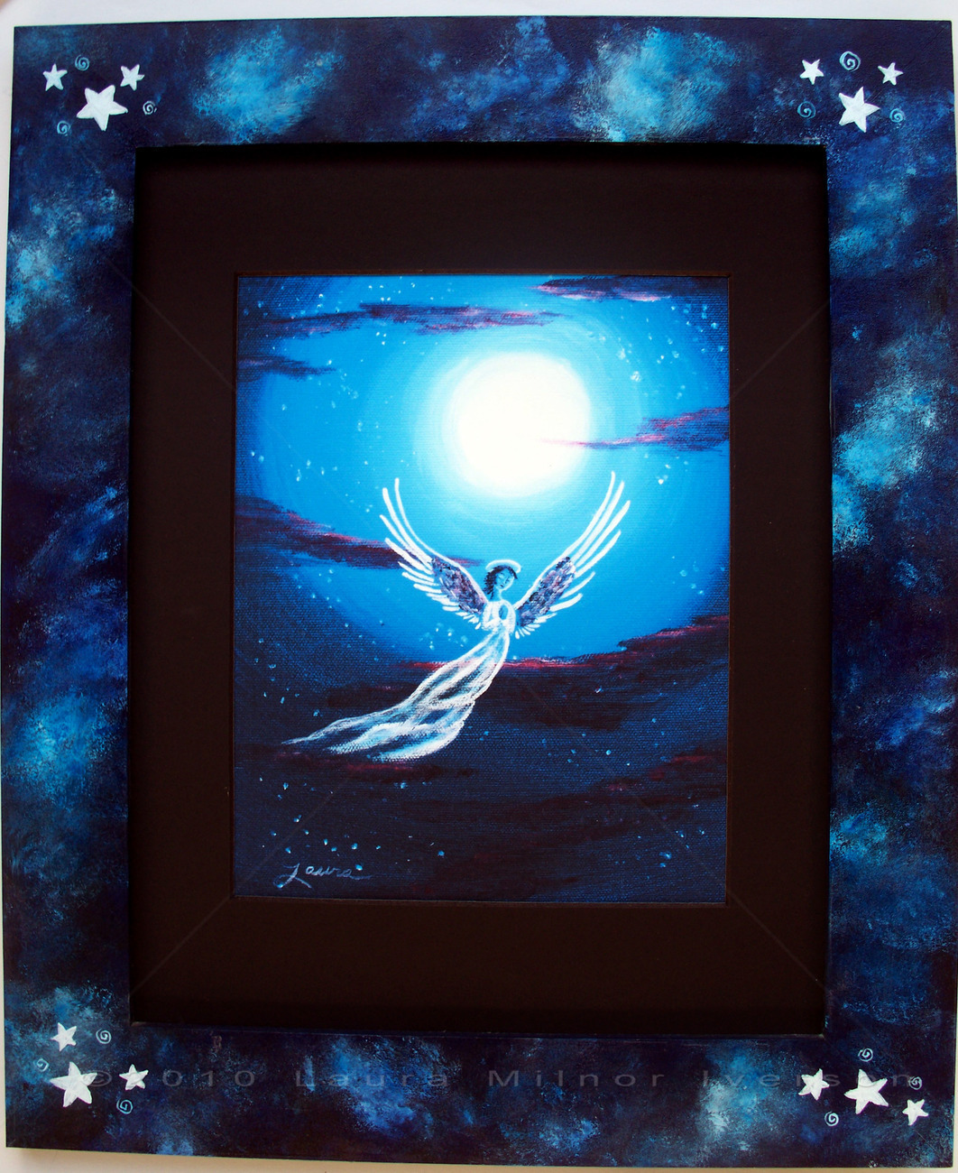 Blue Moon Angel Stars Print Handpainted Frame Framed Art