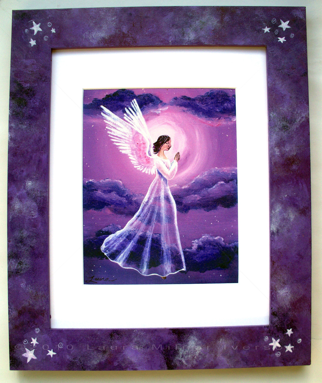 Purple Moon Angel Stars Print Handpainted Frame Framed