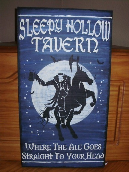 Halloween Signs Decorations Sleepy Hollow Tavern Headless Horseman Primitives