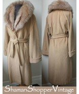 60&#39;s Uber Deluxe &amp; Detailed  Soft CAMEL Hair Wrap Coat with Fluffy Fox Collar