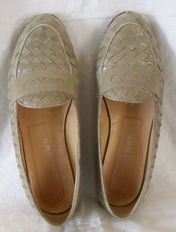 Bottega Veneta woven leather loafers pale dusty sage green 7.5