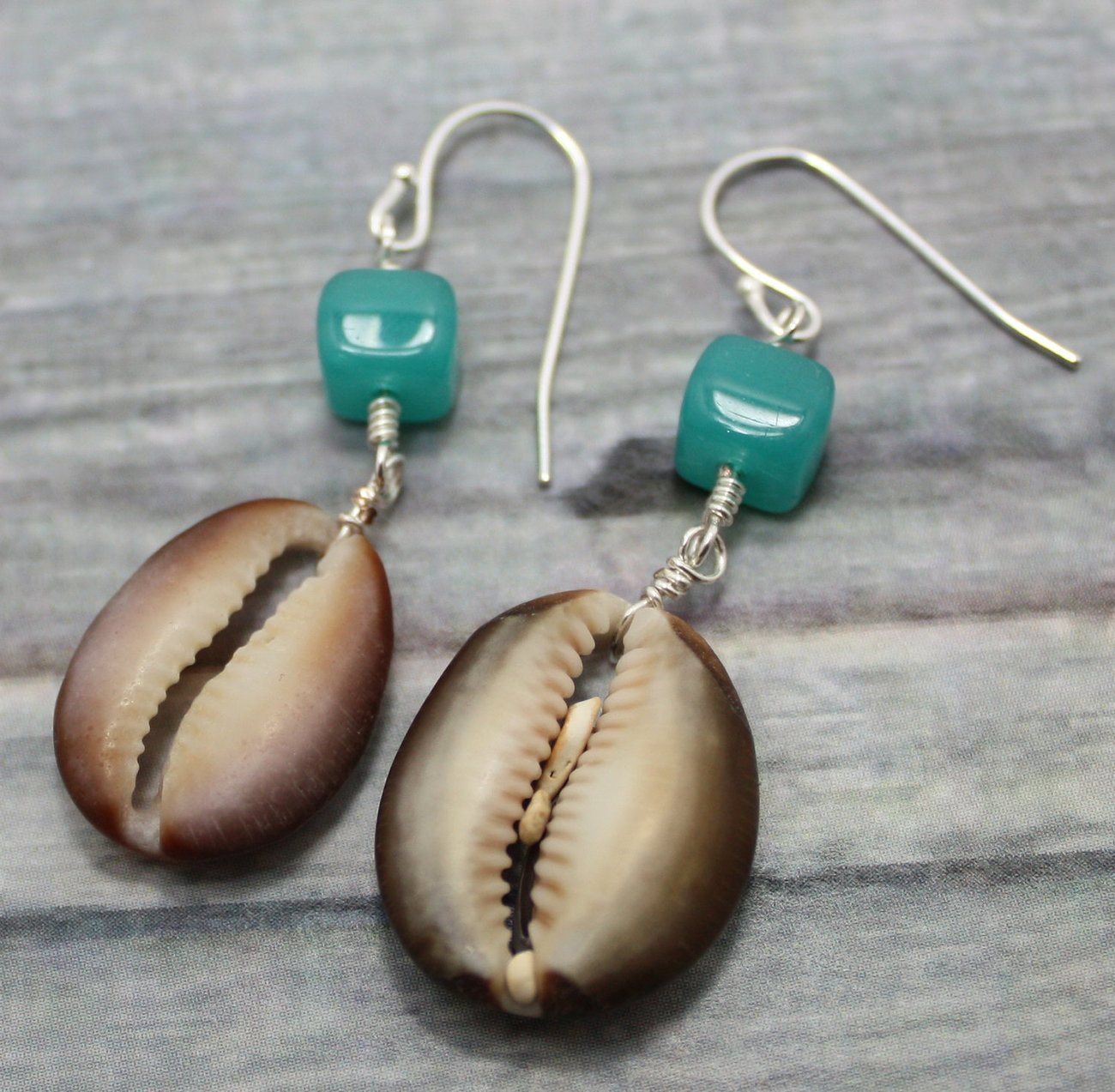 Earrings with Maui Sea Beach Half Cowrie Shells  Bali Style Ear Wires