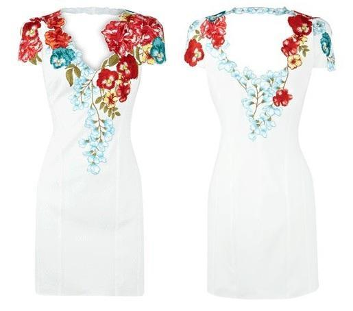 Karen Millen White Floral Shift Dress US Size 10
