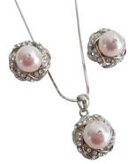 Pearls Pendant Silver Necklace Romantic Wedding... - $22.48