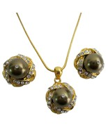 Gold Plated Jewelry Bridesmaid Party Brown Pear... - $22.48