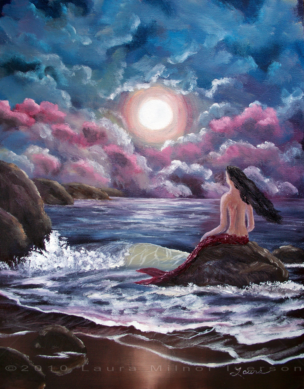 Original Painting Mermaid Fantasy Gothic Night Ocean Moon