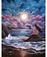 Original Painting Mermaid Fantasy Gothic Night ... - $199.00