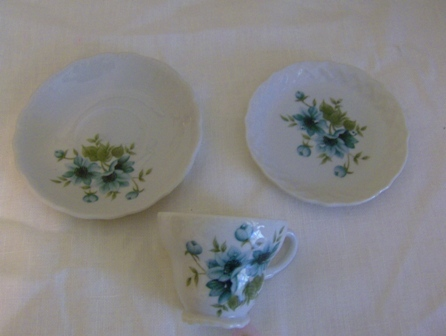 Blue Floral Demitasse Set Norleans Japan Morning