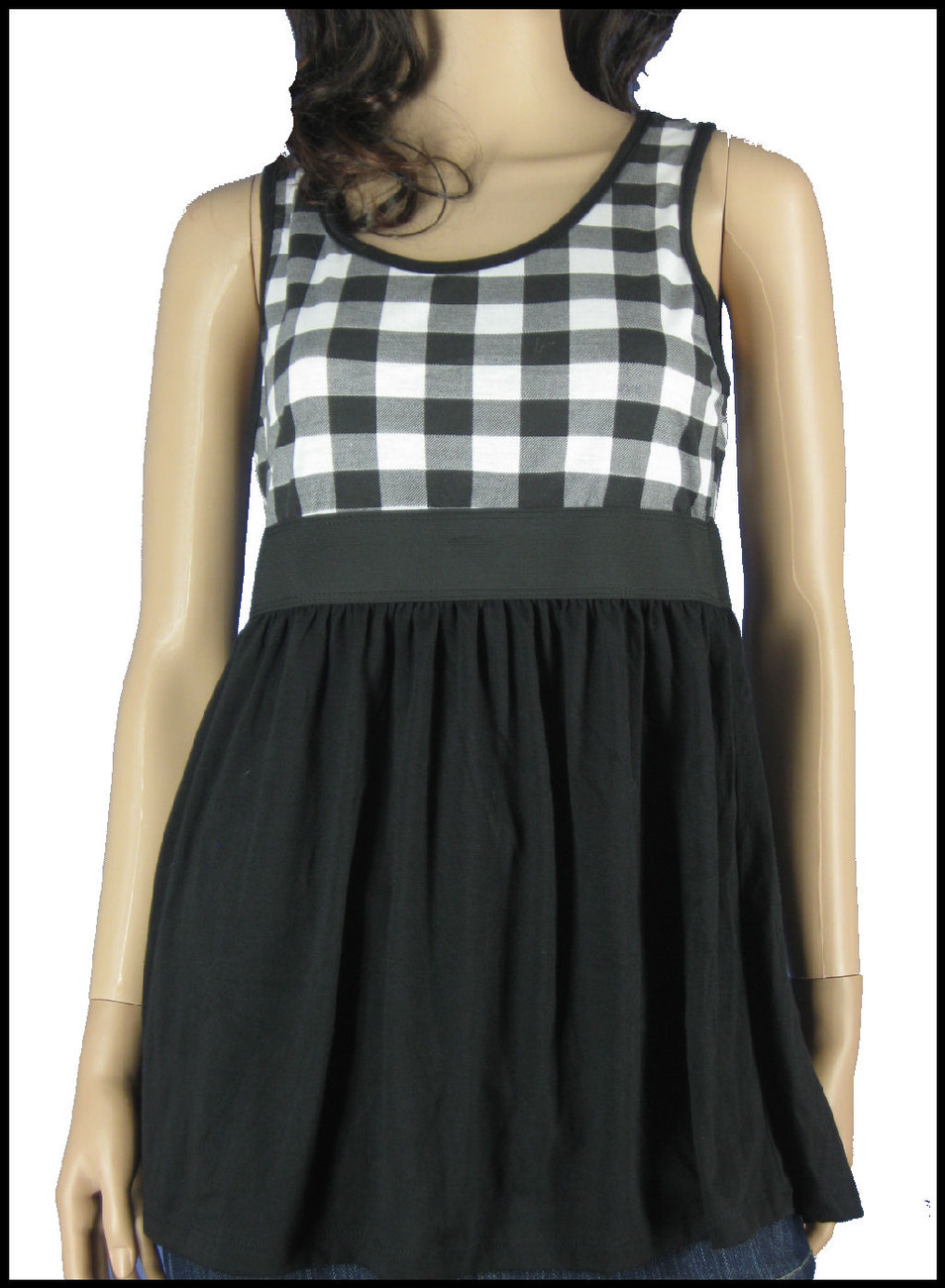 New Retro Black White Checkered check plaid Long Tank top NWT Sz XL Junior