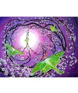 Original Painting Peace Sign Tree Luna Moths Pu... - $549.00