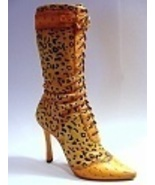 Untamed Leopard Skin High Heel Leg Hugging Tall... - $129.99