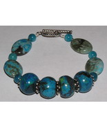 Chrysocolla Azurite and Aquamarine Sterling Sil... - $30.00
