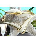 Vintage Monet Modernist V Necklace Brooch Gold ... - $36.95
