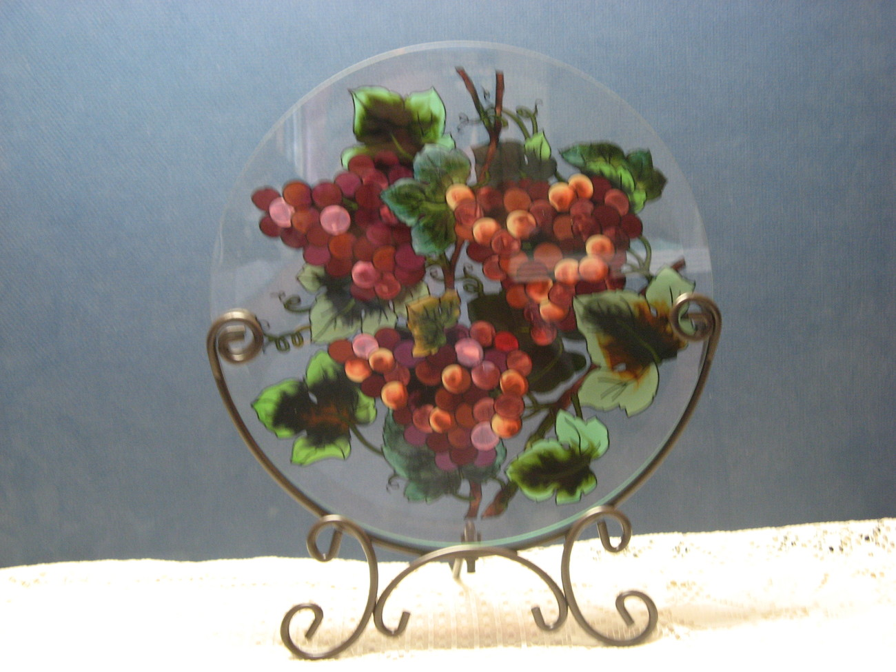 Hand Painted Glass Table Topper Grapes Joan Baker