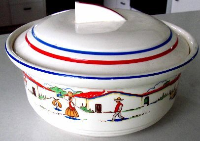 1930's? Pottery Bowl w/Lid Harker Hot OvenWare MEXICALI