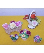 5 Flower Baskets 2 Royal Adderly Bone China Eng... - $55.00