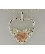 Black Hills Gold Rose Sterling Silver Heart Nec... - $79.99