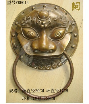 Rare Chinese old copper brass lion / * knocker