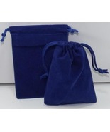 10 Jewelry Pouches Gift Bags 3 X 4 Blue Velour ... - $7.99