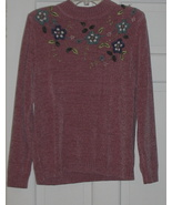 Mauve Floral Chennille Sweater Large - $5.99