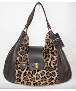 NEW CLAUDIA FIRENZE ITALY HANDBAG BROWN LEATHER LEOPARD HAIRCALF HOBO NWT $515 - $120.48