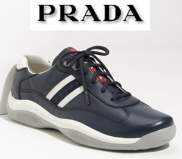 $465 AUTHENTIC PRADA LOGO BLUE LEATHER EAGLE LACE-UP SNEAKERS SHOES *BRAND NEW*
