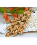 Vintage Pink Coral Chips Nuggets Leaf Pendant S... - $42.95