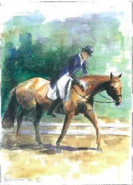 Horse Art Dressage Print Painting Rider Horse Watercolor Signed Limited Edition