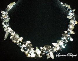 OOAK Black and White Freshwater Pearls and Crys... - $89.00