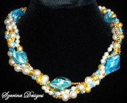 OOAK Caribbean Blue Torsade Swarovski Pearl and... - $99.00